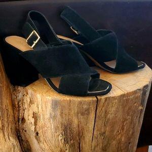 ALDO Square Toe Suede Chunky Heel Sz 9